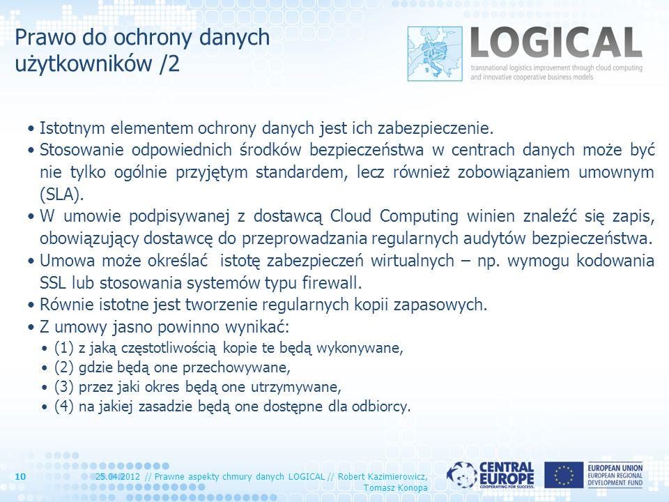 Prawo do ochrony danych użytkowników /2