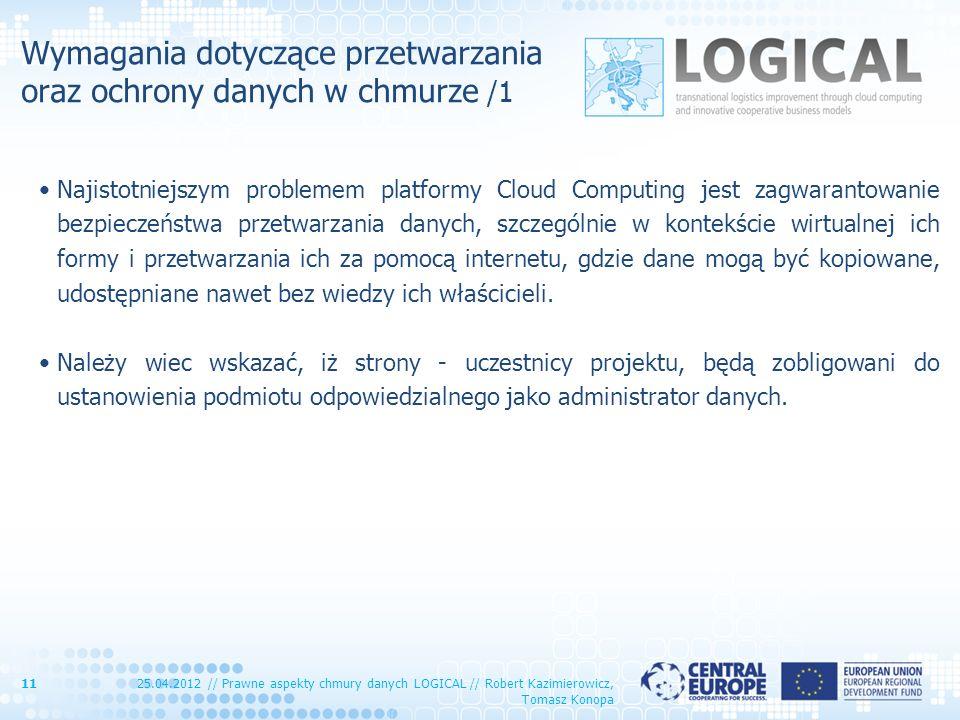 Wymagania dotyczące przetwarzania oraz ochrony danych w chmurze /1