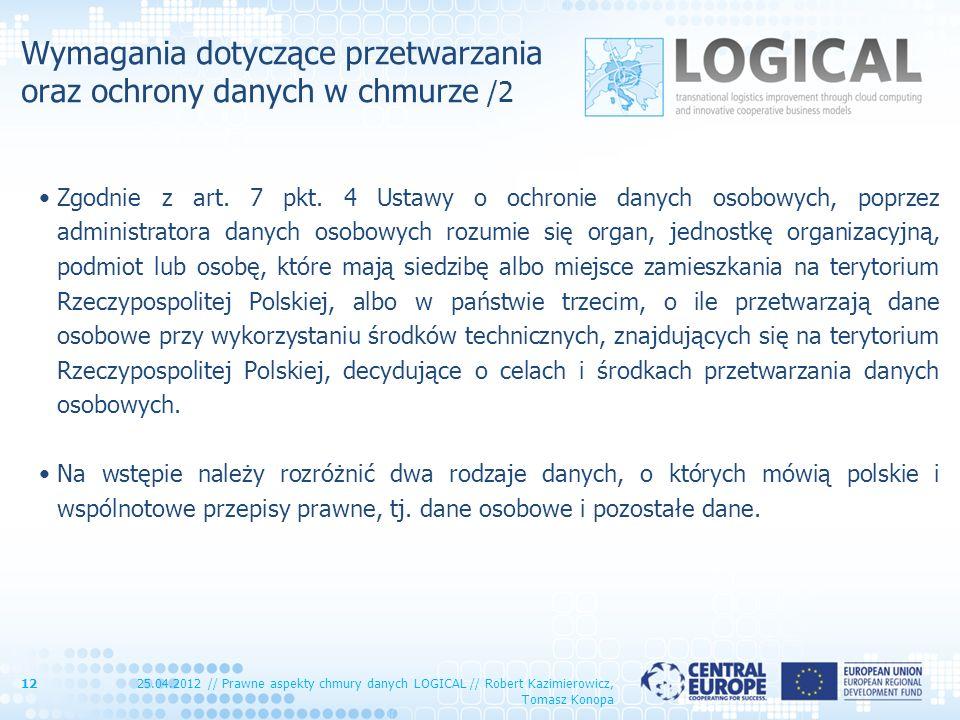 Wymagania dotyczące przetwarzania oraz ochrony danych w chmurze /2