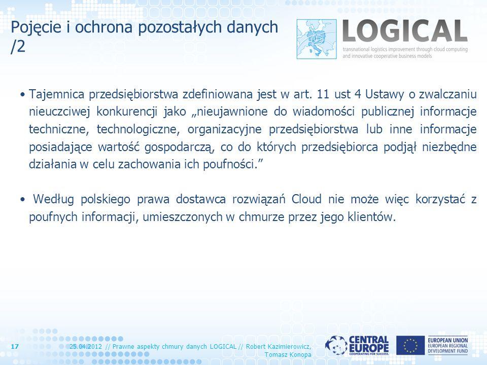 Pojęcie i ochrona pozostałych danych /2