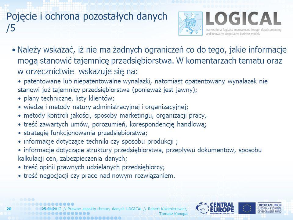 Pojęcie i ochrona pozostałych danych /5