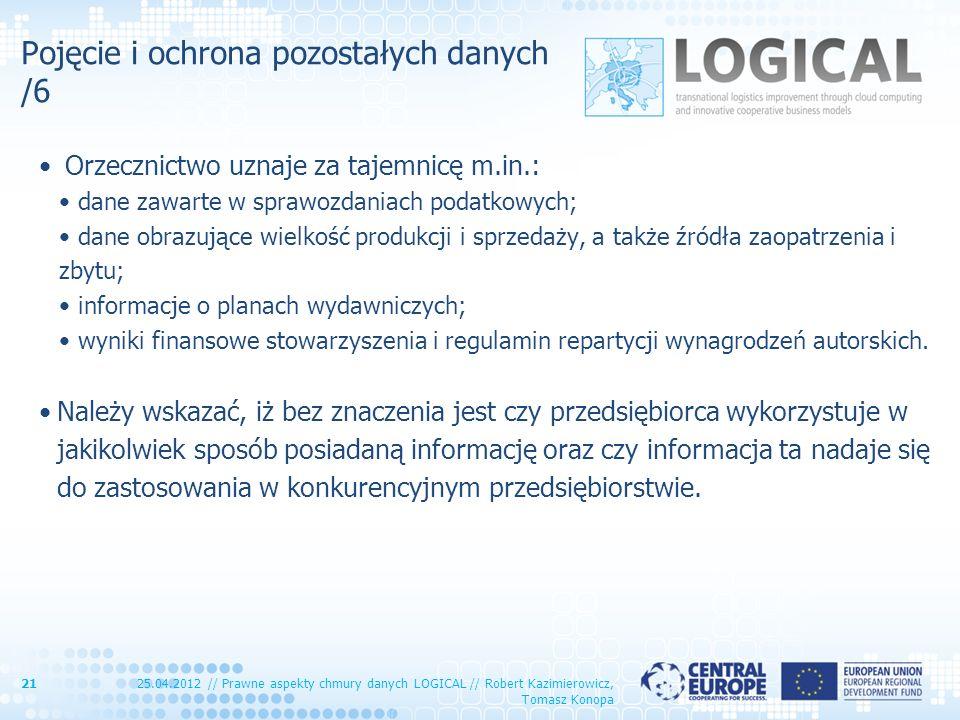 Pojęcie i ochrona pozostałych danych /6