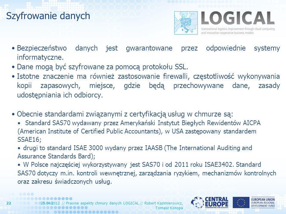 Szyfrowanie danych Bezpieczeństwo danych jest gwarantowane przez odpowiednie systemy informatyczne.