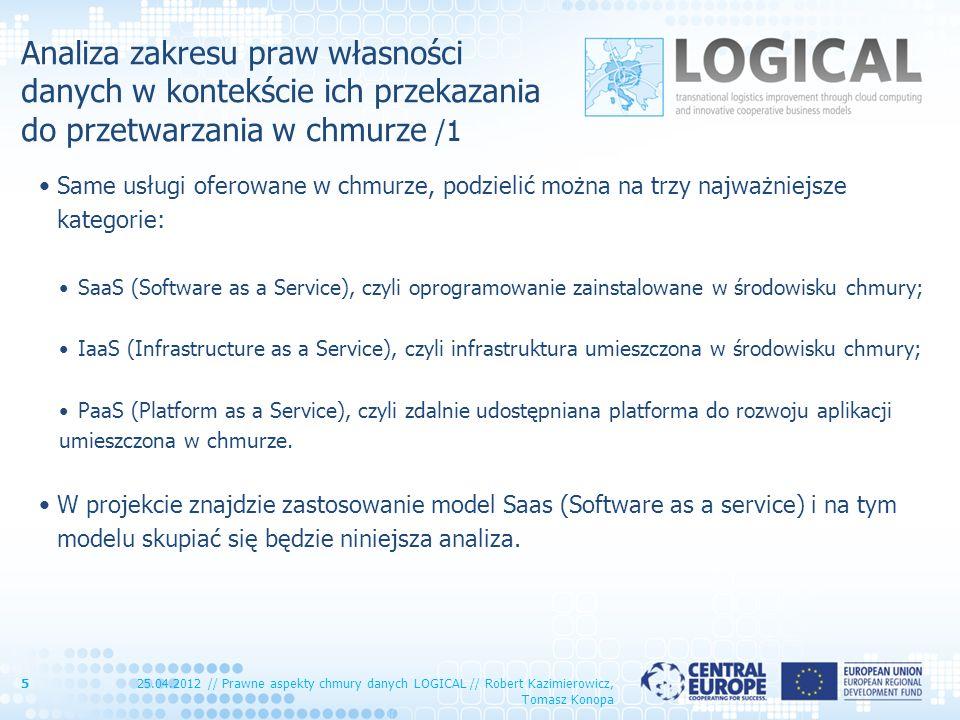 Analiza zakresu praw własności danych w kontekście ich przekazania do przetwarzania w chmurze /1