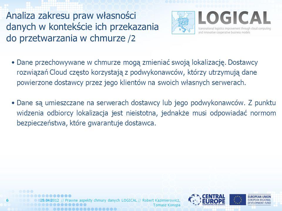 Analiza zakresu praw własności danych w kontekście ich przekazania do przetwarzania w chmurze /2