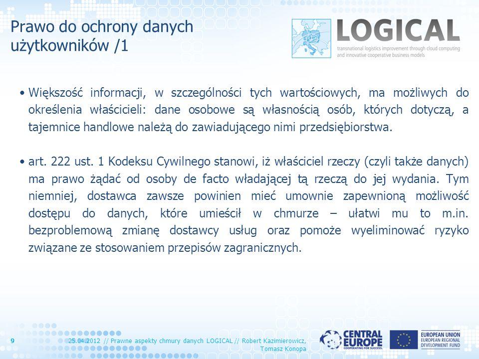 Prawo do ochrony danych użytkowników /1