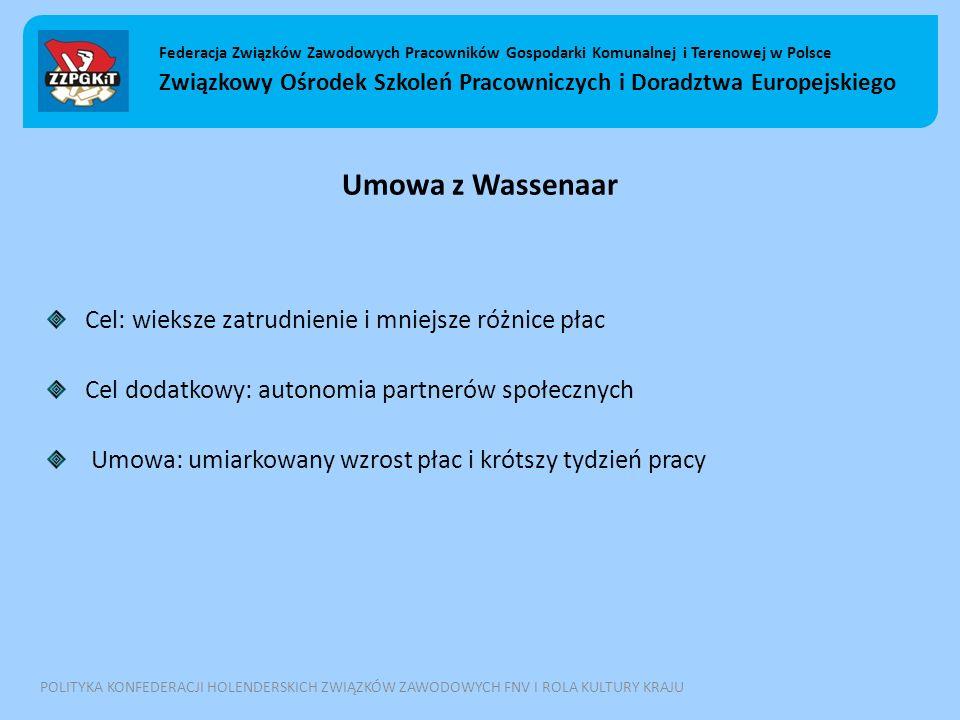 Umowa z Wassenaar Cel: wieksze zatrudnienie i mniejsze różnice płac