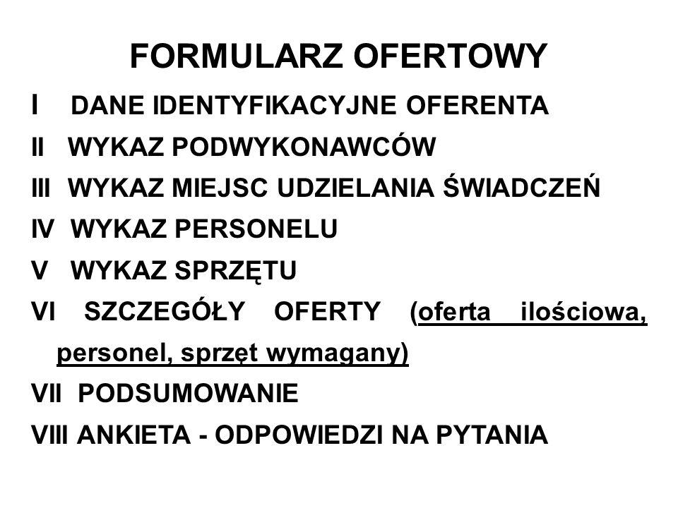 FORMULARZ OFERTOWY I DANE IDENTYFIKACYJNE OFERENTA