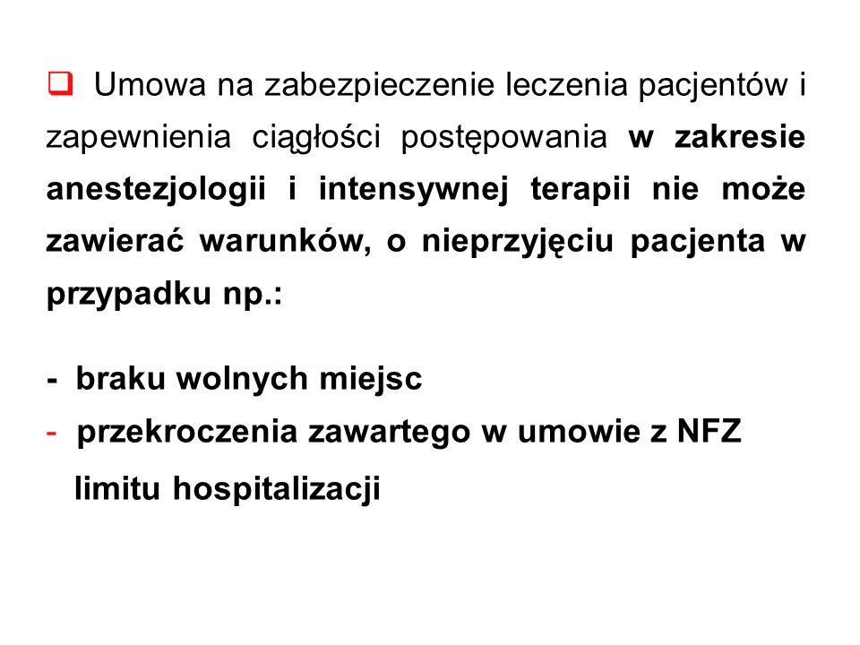 Umowa na zabezpieczenie leczenia pacjentów i zapewnienia ciągłości postępowania w zakresie anestezjologii i intensywnej terapii nie może zawierać warunków, o nieprzyjęciu pacjenta w przypadku np.: