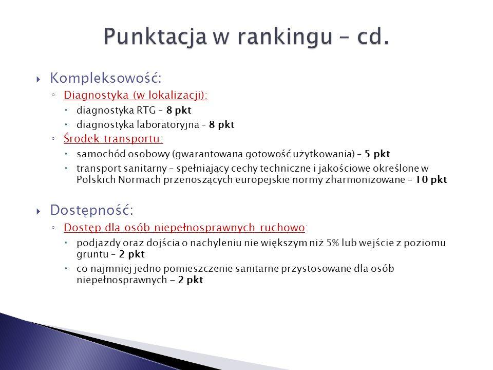 Punktacja w rankingu – cd.
