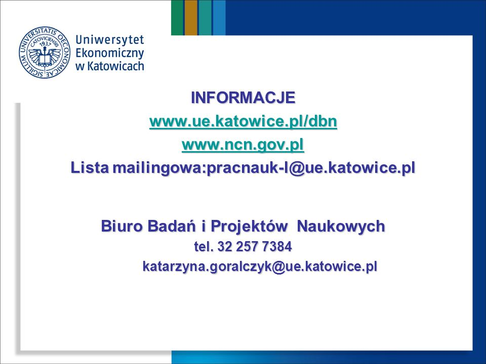Lista mailingowa:pracnauk-l@ue.katowice.pl