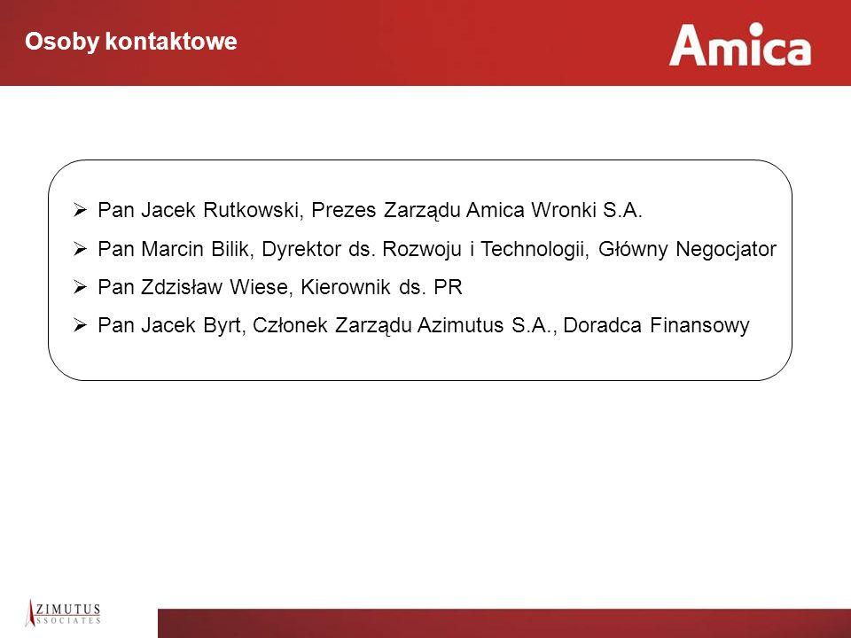 Osoby kontaktowe Pan Jacek Rutkowski, Prezes Zarządu Amica Wronki S.A.