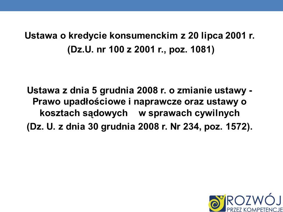 Ustawa o kredycie konsumenckim z 20 lipca 2001 r. (Dz. U