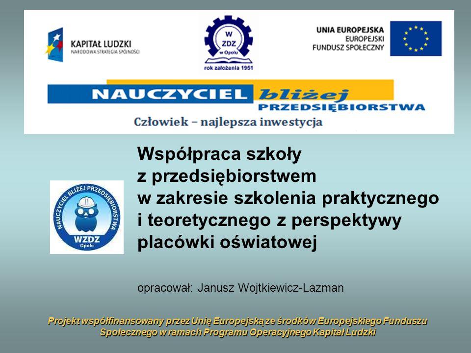 Współpraca szkoły z przedsiębiorstwem w zakresie szkolenia praktycznego i teoretycznego z perspektywy placówki oświatowej opracował: Janusz Wojtkiewicz-Lazman