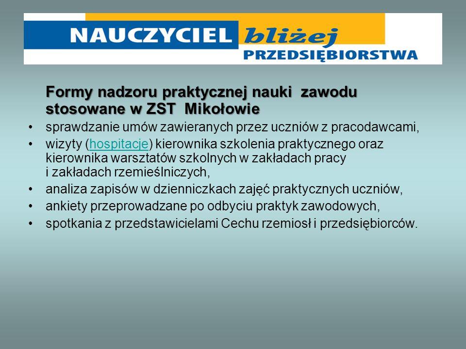 Formy nadzoru praktycznej nauki zawodu stosowane w ZST Mikołowie