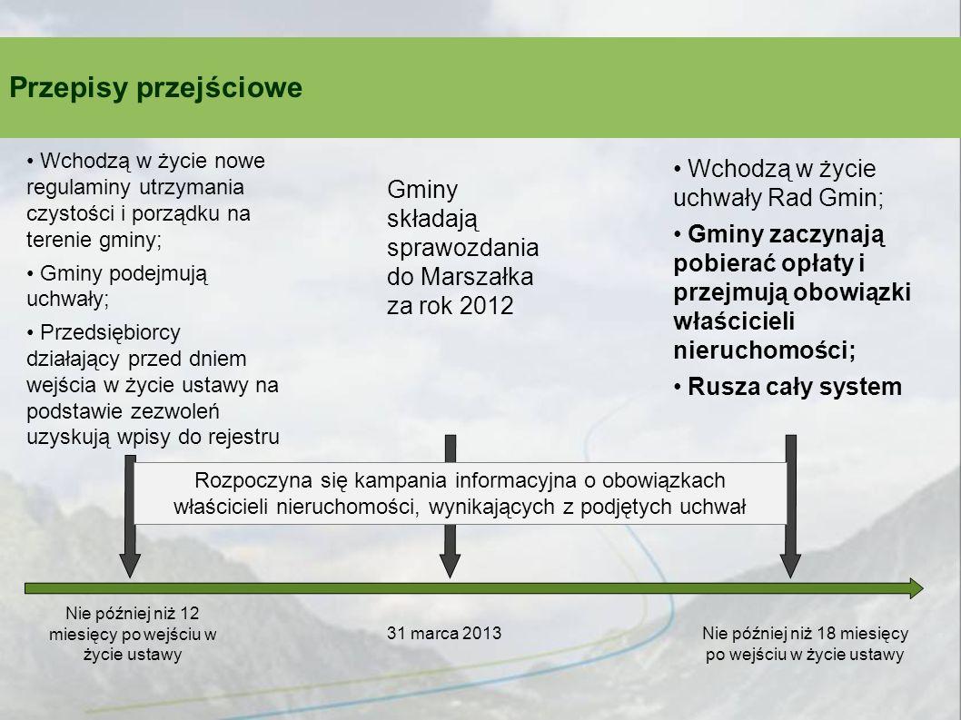 Przepisy przejściowe Wchodzą w życie uchwały Rad Gmin;