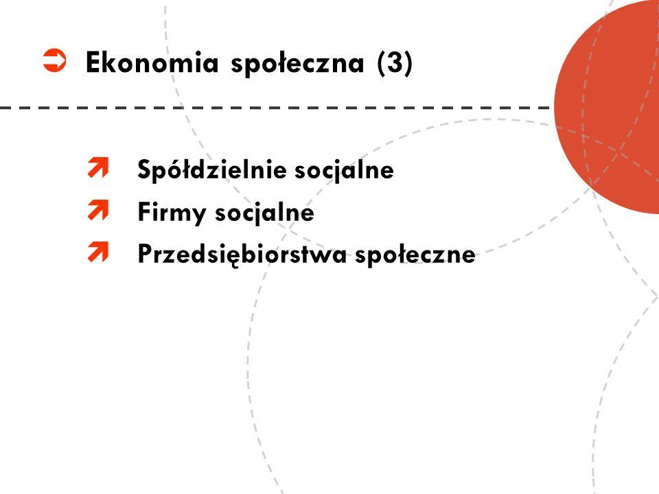 Ekonomia społeczna (3) Spółdzielnie socjalne Firmy socjalne