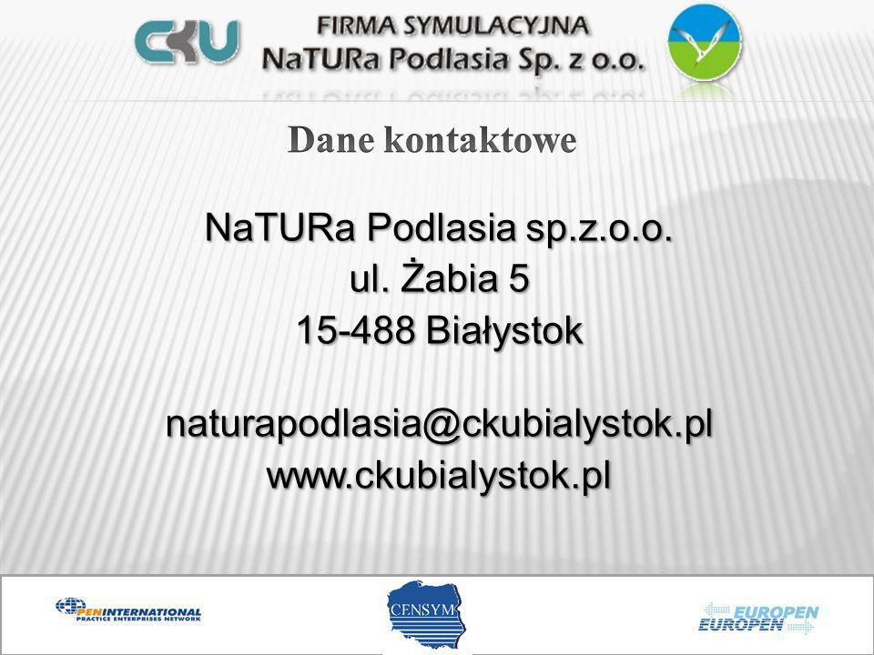 Dane kontaktowe NaTURa Podlasia sp.z.o.o. ul.