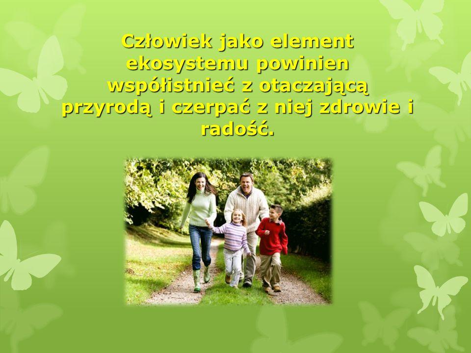 Człowiek jako element ekosystemu powinien współistnieć z otaczającą przyrodą i czerpać z niej zdrowie i radość.