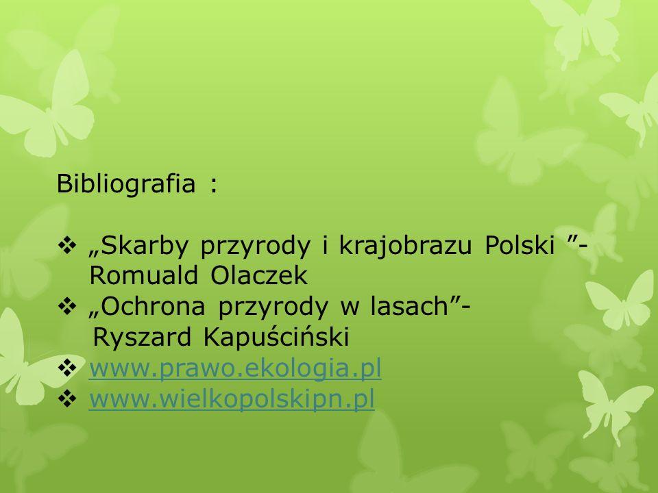 """Bibliografia : """"Skarby przyrody i krajobrazu Polski - Romuald Olaczek. """"Ochrona przyrody w lasach -"""