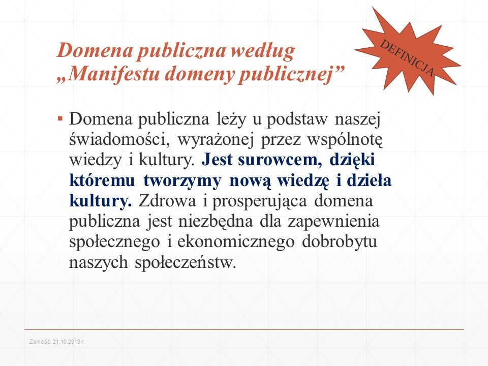 """Domena publiczna według """"Manifestu domeny publicznej"""