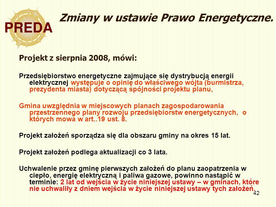 Zmiany w ustawie Prawo Energetyczne.
