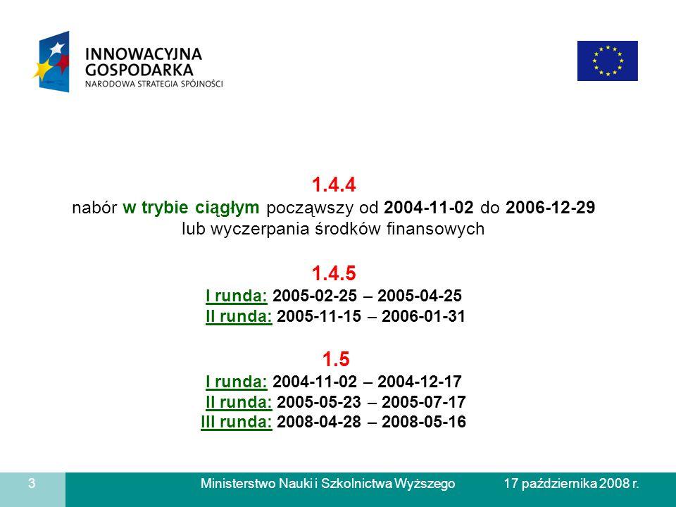 1.4.4 nabór w trybie ciągłym począwszy od 2004-11-02 do 2006-12-29 lub wyczerpania środków finansowych 1.4.5 I runda: 2005-02-25 – 2005-04-25 II runda: 2005-11-15 – 2006-01-31 1.5 I runda: 2004-11-02 – 2004-12-17 II runda: 2005-05-23 – 2005-07-17 III runda: 2008-04-28 – 2008-05-16