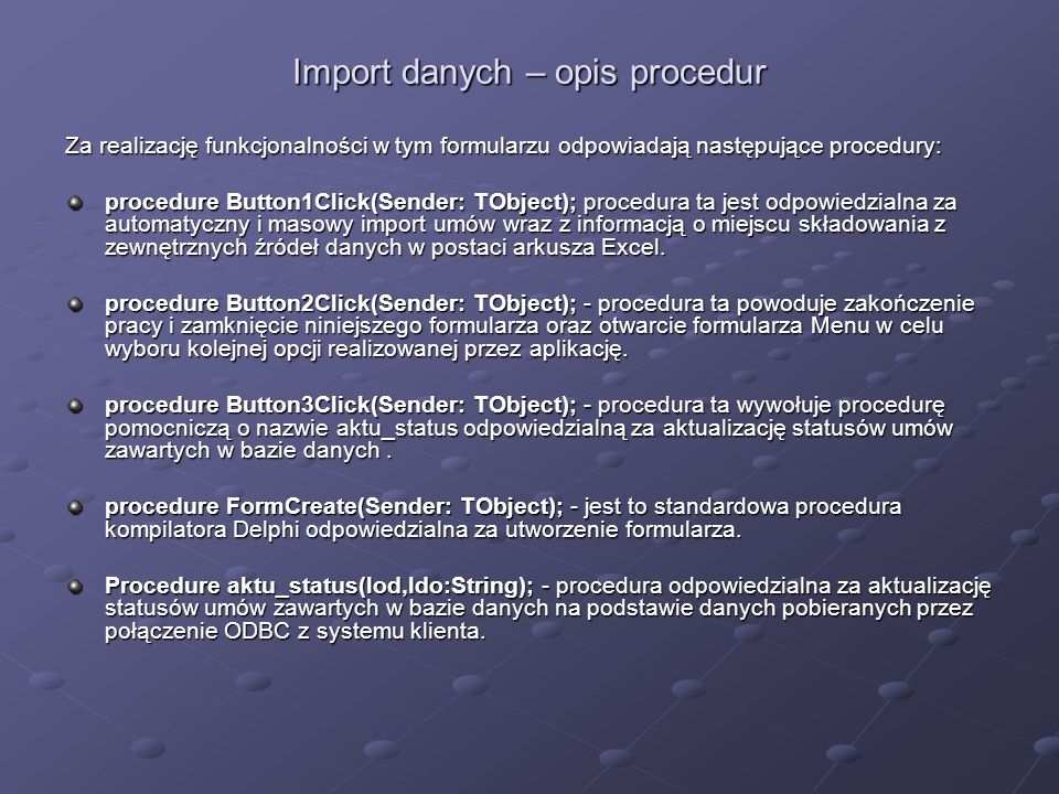 Import danych – opis procedur