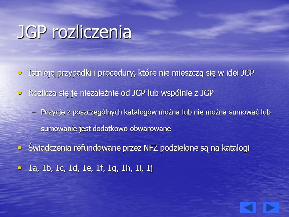 JGP rozliczenia Istnieją przypadki i procedury, które nie mieszczą się w idei JGP. Rozlicza się je niezależnie od JGP lub wspólnie z JGP.