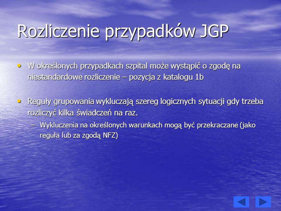Rozliczenie przypadków JGP