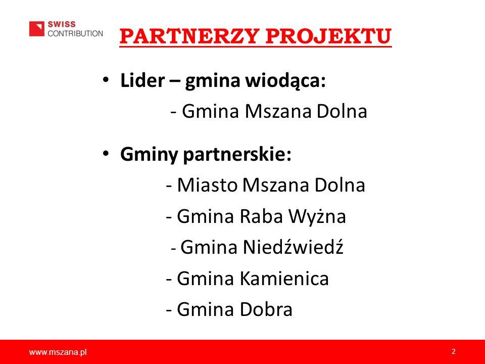 PARTNERZY PROJEKTU Lider – gmina wiodąca: - Gmina Mszana Dolna