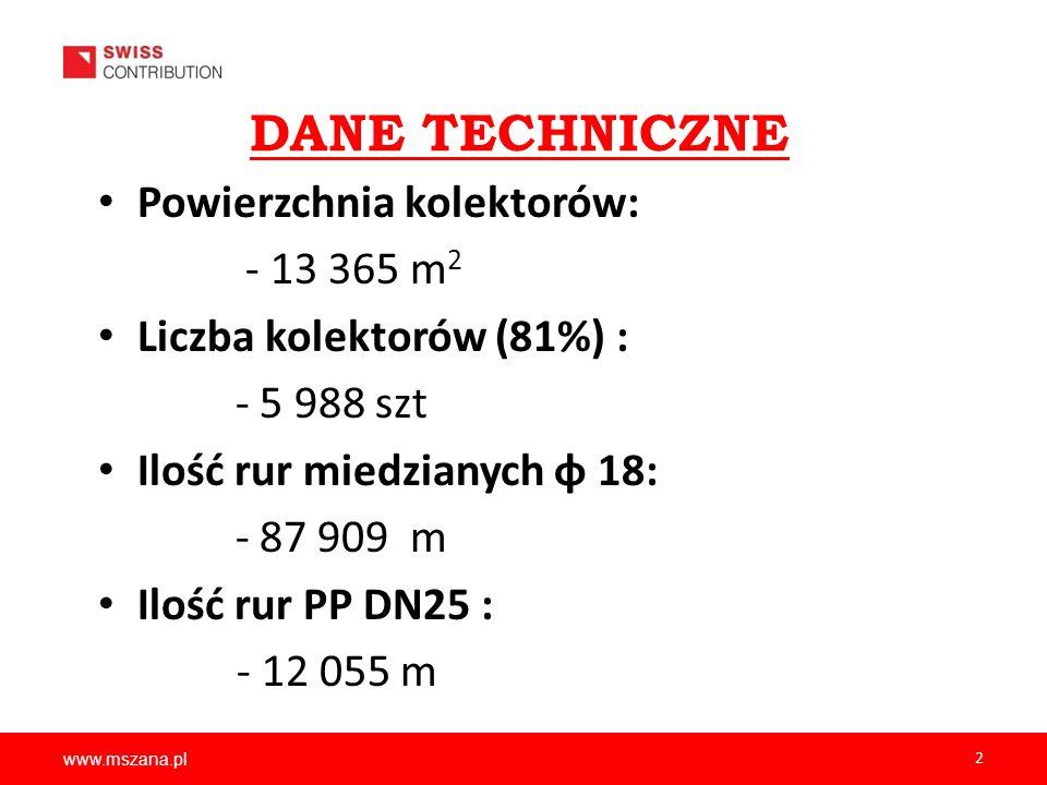 DANE TECHNICZNE Powierzchnia kolektorów: - 13 365 m2