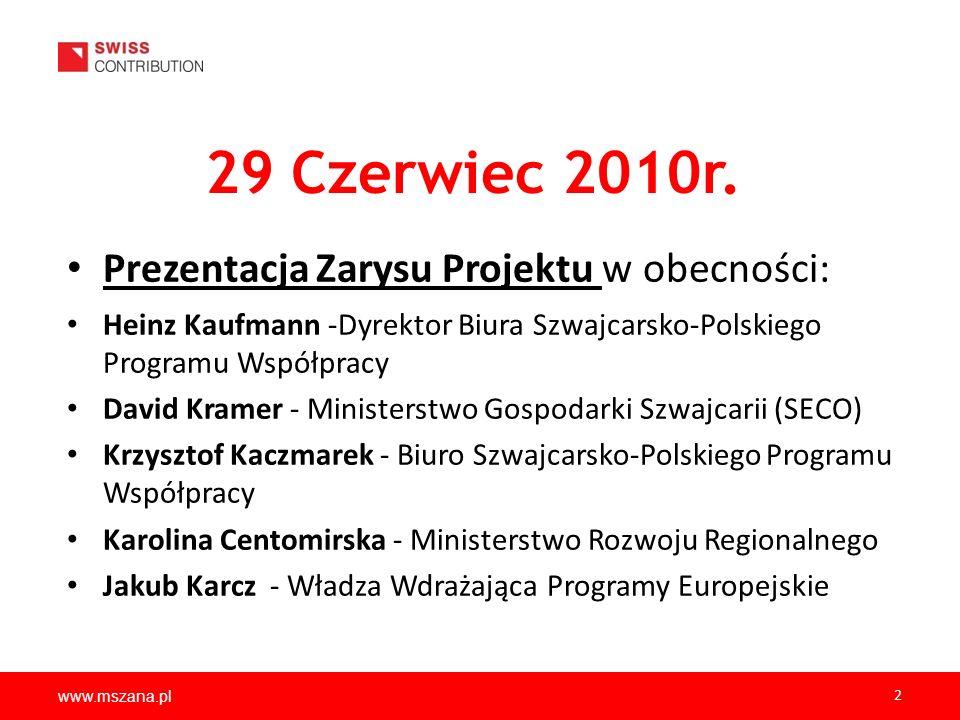 29 Czerwiec 2010r. Prezentacja Zarysu Projektu w obecności: