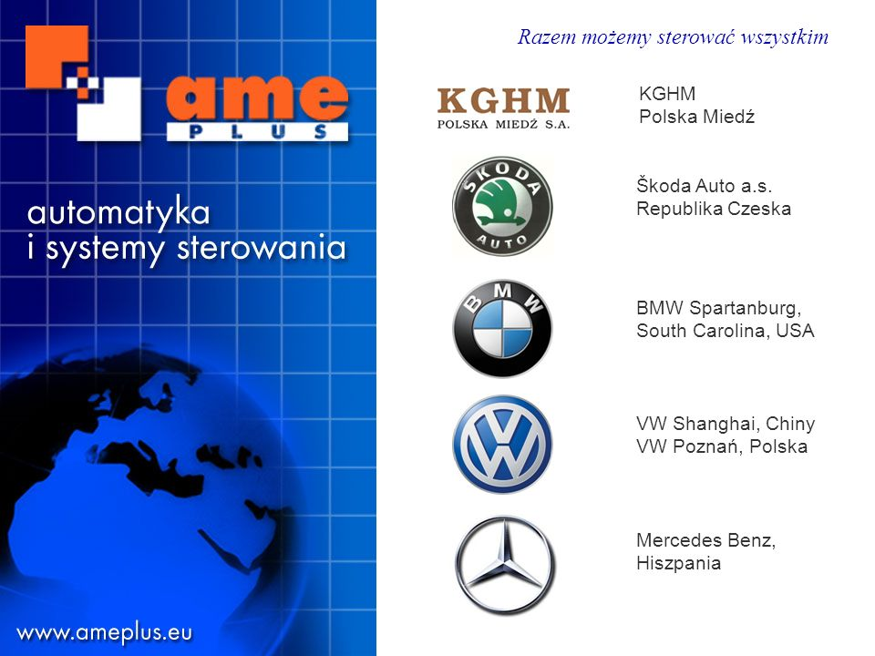 KGHM Polska Miedź Škoda Auto a.s. Republika Czeska. BMW Spartanburg, South Carolina, USA. VW Shanghai, Chiny VW Poznań, Polska.