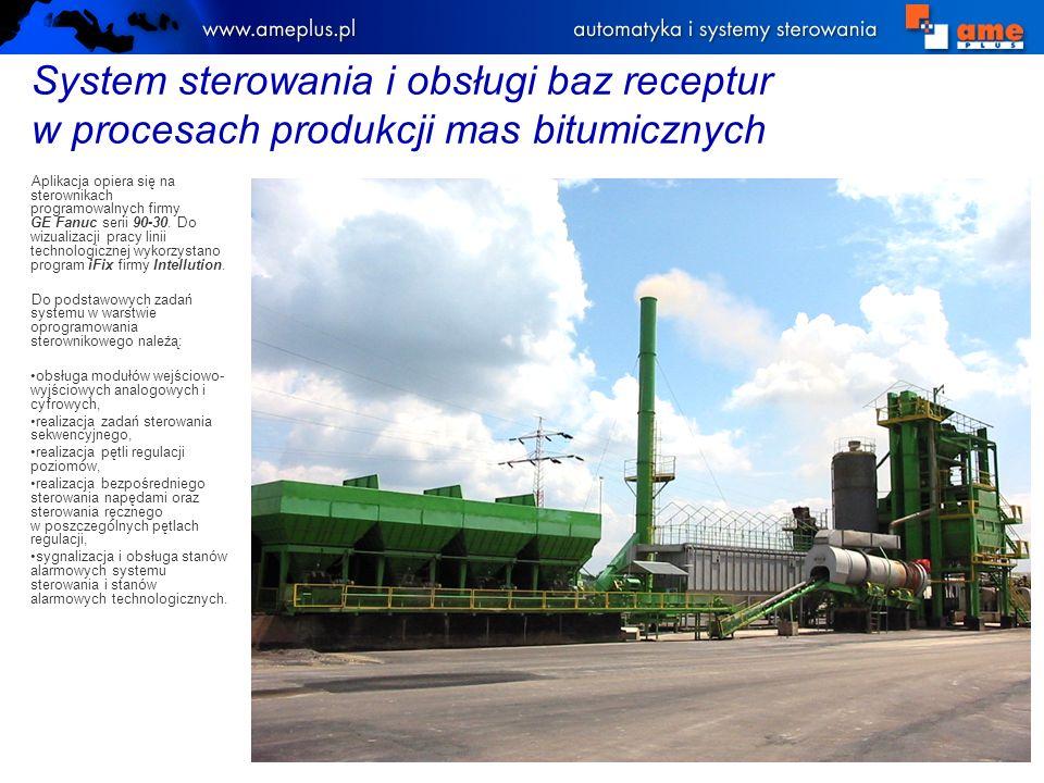 System sterowania i obsługi baz receptur w procesach produkcji mas bitumicznych