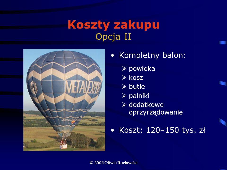Koszty zakupu Opcja II Kompletny balon: Koszt: 120–150 tys. zł powłoka