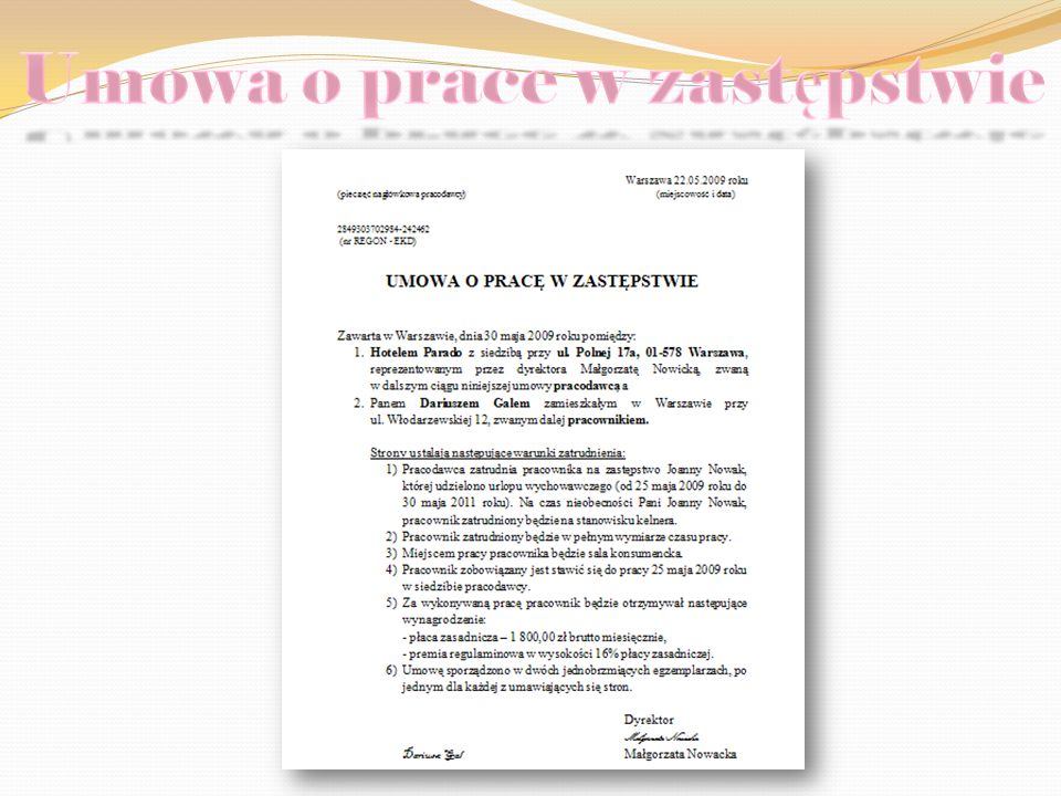 Umowa o prace w zastępstwie