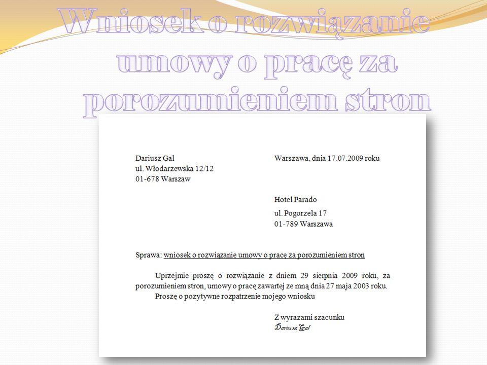 Wniosek o rozwiązanie umowy o pracę za porozumieniem stron