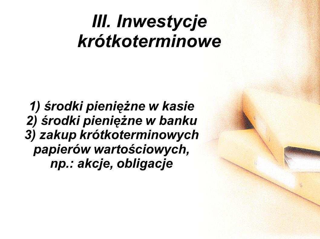 III. Inwestycje krótkoterminowe