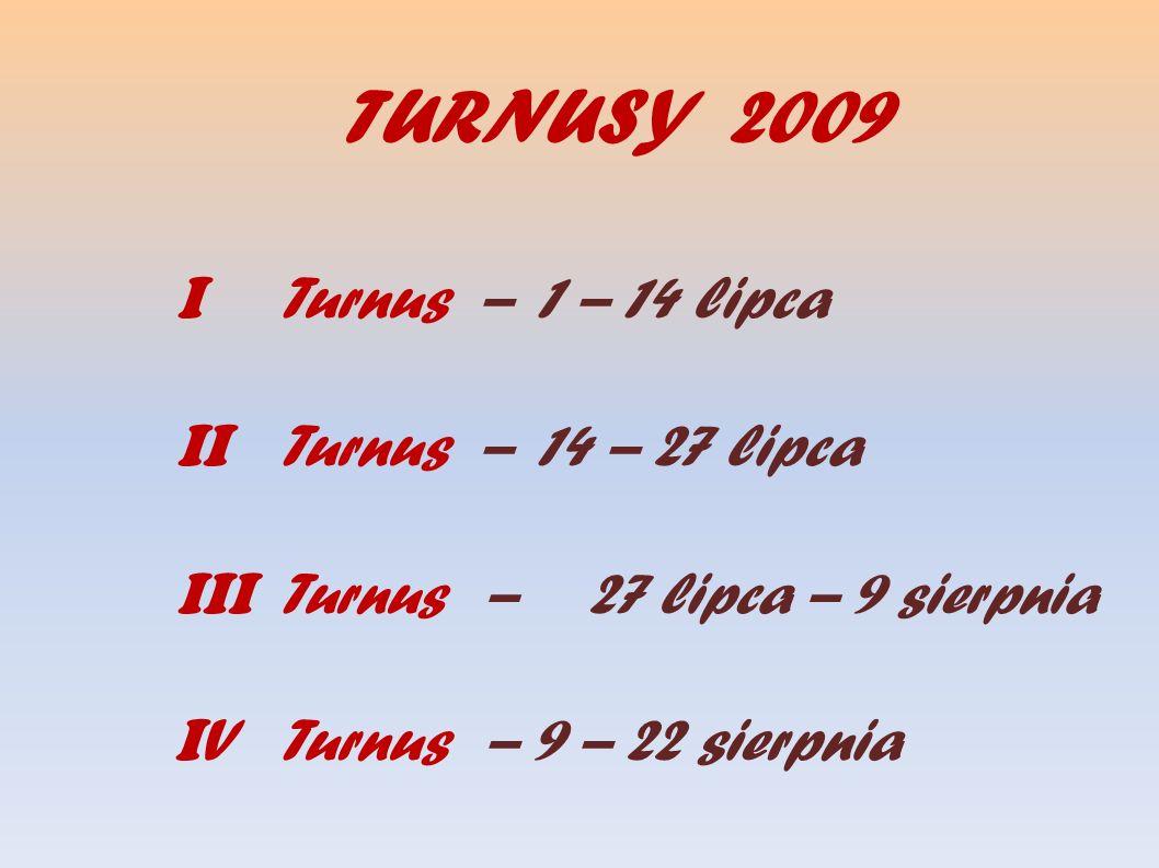 TURNUSY 2009 I Turnus – 1 – 14 lipca II Turnus – 14 – 27 lipca