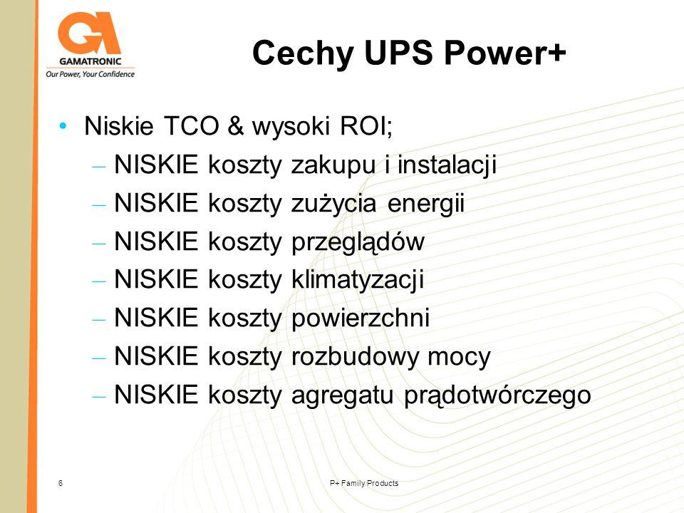 Cechy UPS Power+ Niskie TCO & wysoki ROI;
