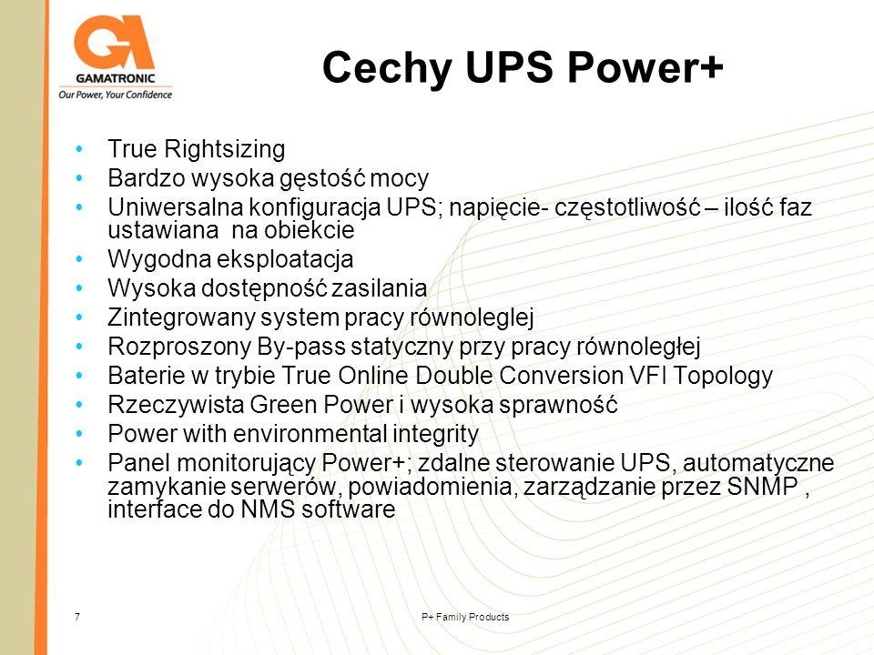 Cechy UPS Power+ True Rightsizing Bardzo wysoka gęstość mocy