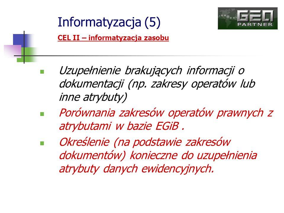 Informatyzacja (5) CEL II – informatyzacja zasobu. Uzupełnienie brakujących informacji o dokumentacji (np. zakresy operatów lub inne atrybuty)