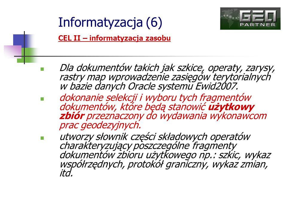 Informatyzacja (6) CEL II – informatyzacja zasobu.