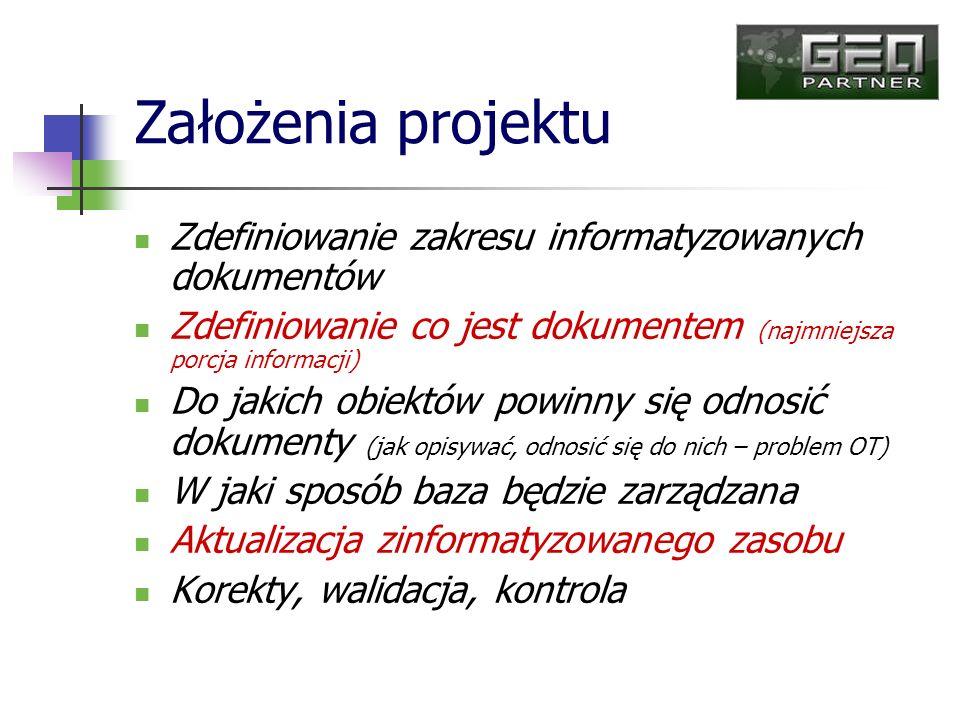 Założenia projektu Zdefiniowanie zakresu informatyzowanych dokumentów