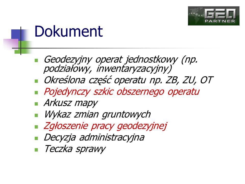Dokument Geodezyjny operat jednostkowy (np. podziałowy, inwentaryzacyjny) Określona część operatu np. ZB, ZU, OT.
