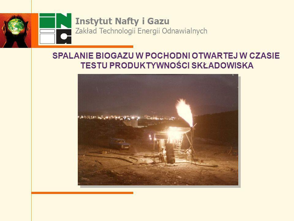 Instytut Nafty i Gazu SPALANIE BIOGAZU W POCHODNI OTWARTEJ W CZASIE