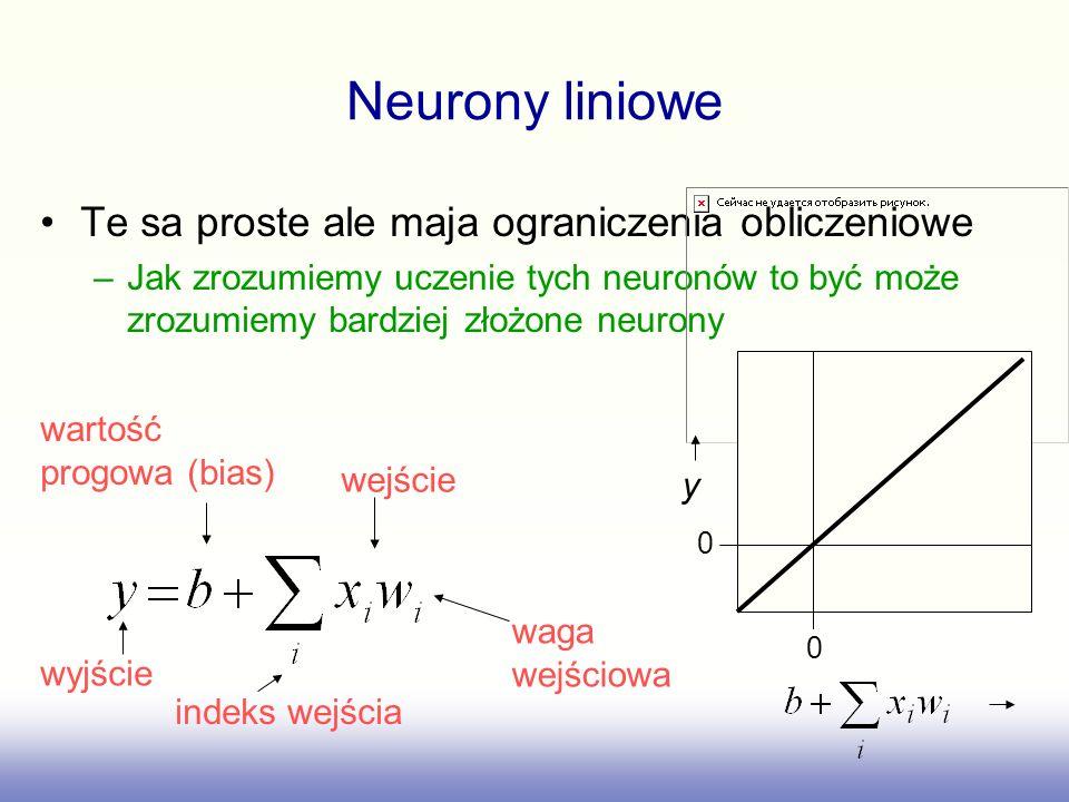 Neurony liniowe Te sa proste ale maja ograniczenia obliczeniowe
