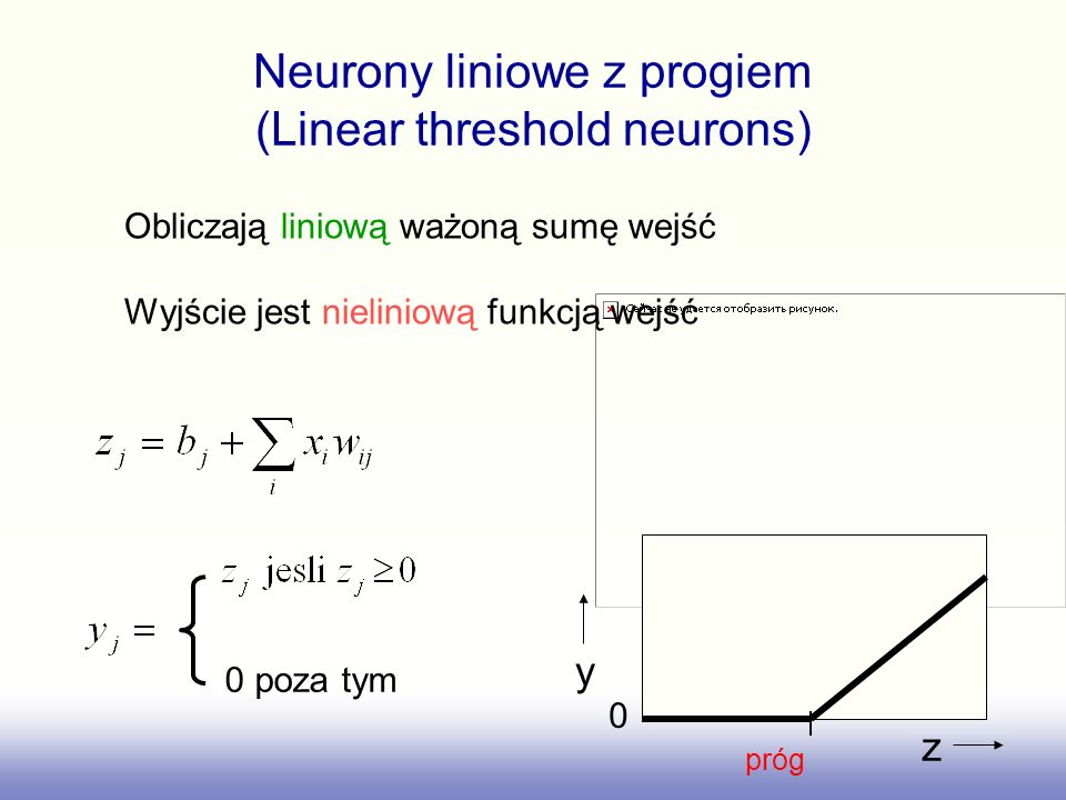 Neurony liniowe z progiem (Linear threshold neurons)