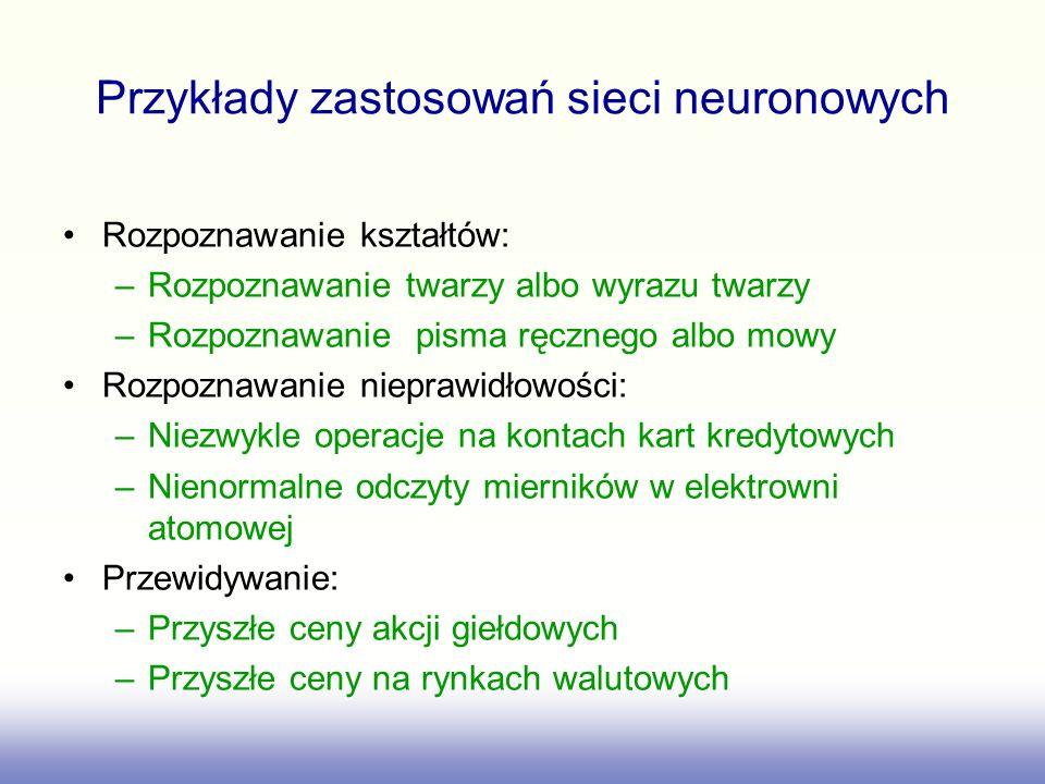 Przykłady zastosowań sieci neuronowych